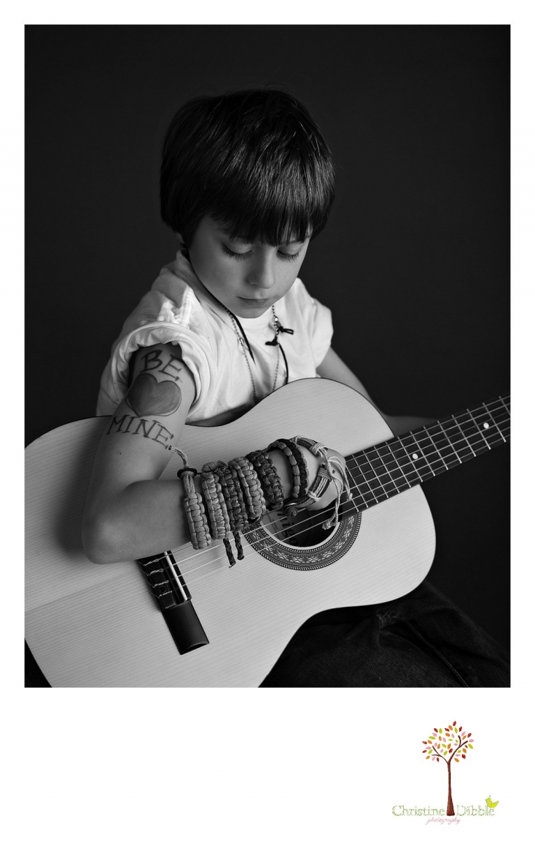 Sonora Child Photographer studio guitar rock star session