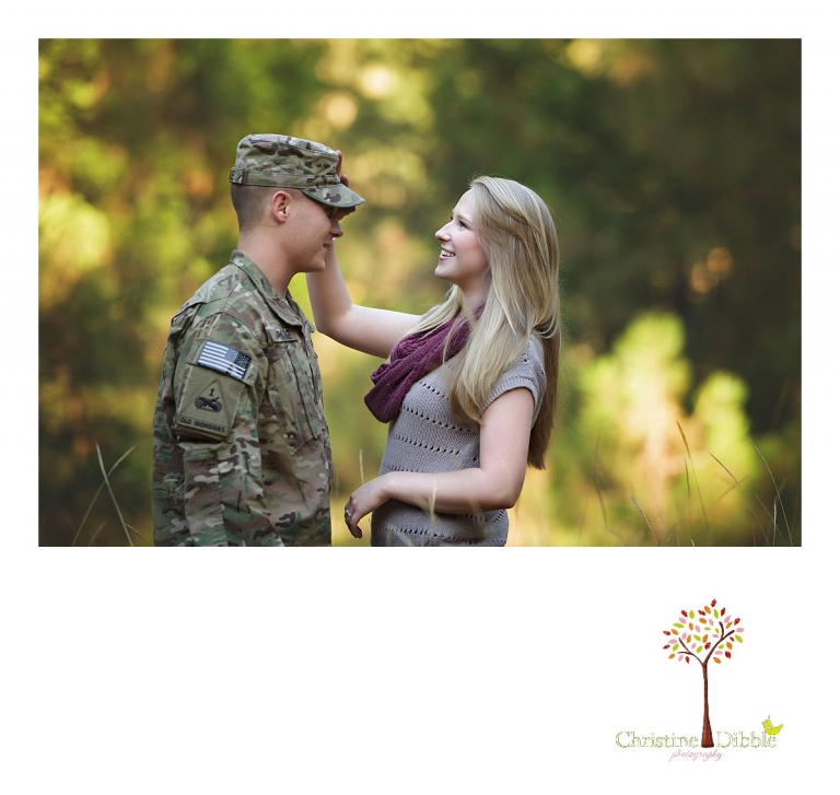 Christine Dibble Photography of Sonora, CA takes couple's photos of a uniformed soldier on leave and his hometwon girlfriend in an engagement style photo shoot outdoors in a field at sunset.