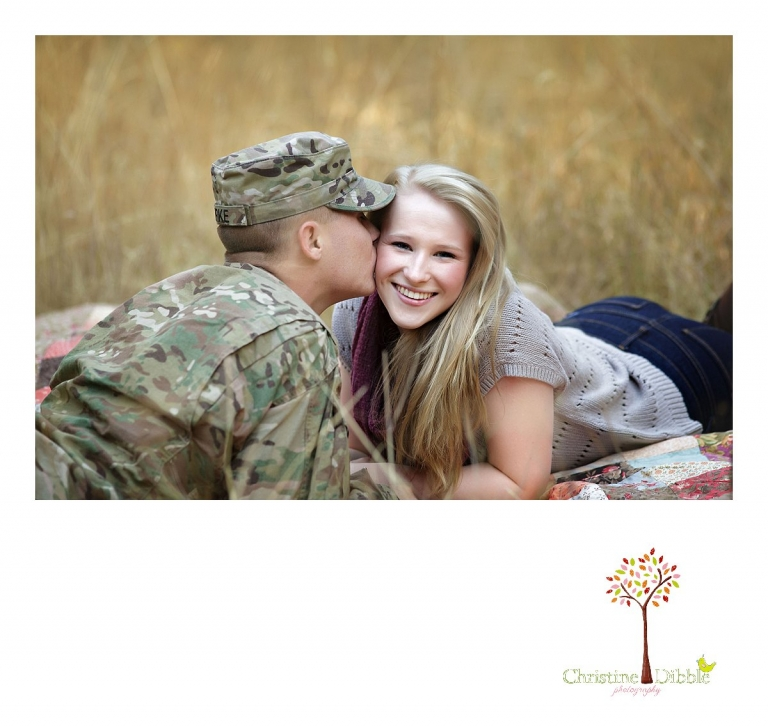 Christine Dibble Photography of Sonora, CA takes couple's photos of a uniformed soldier on leave as he kisses his hometwon girlfriend during an engagement style photo session at sunset near Twain Harte.