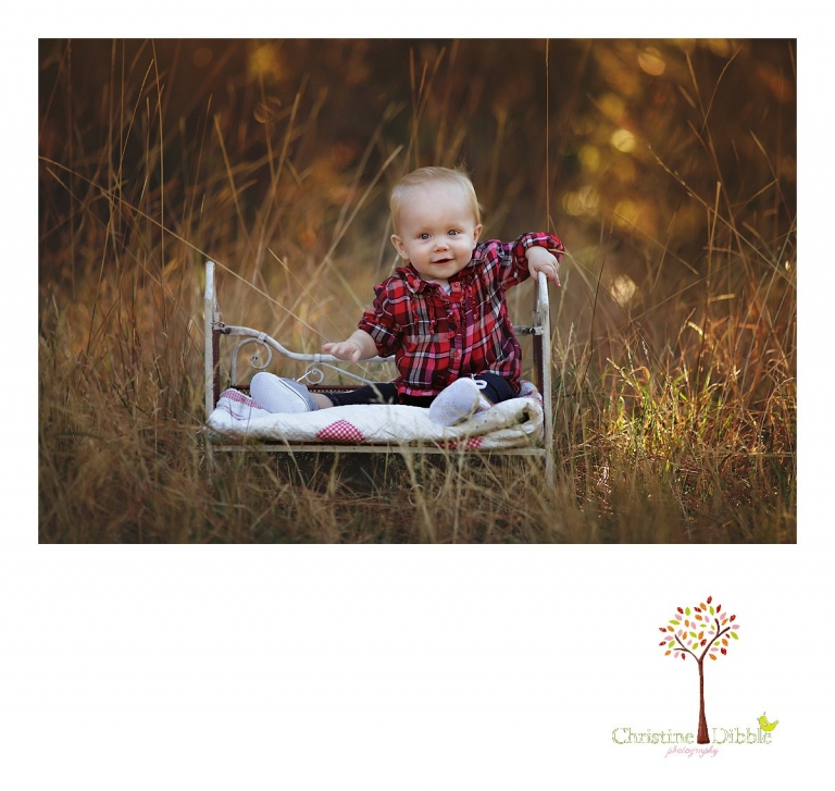 Sonora child photographer Christine Dibble Photography photographs a baby girl's first birthday session outdoors in a field as she sits in a child-sized iron bed near Twain Harte.