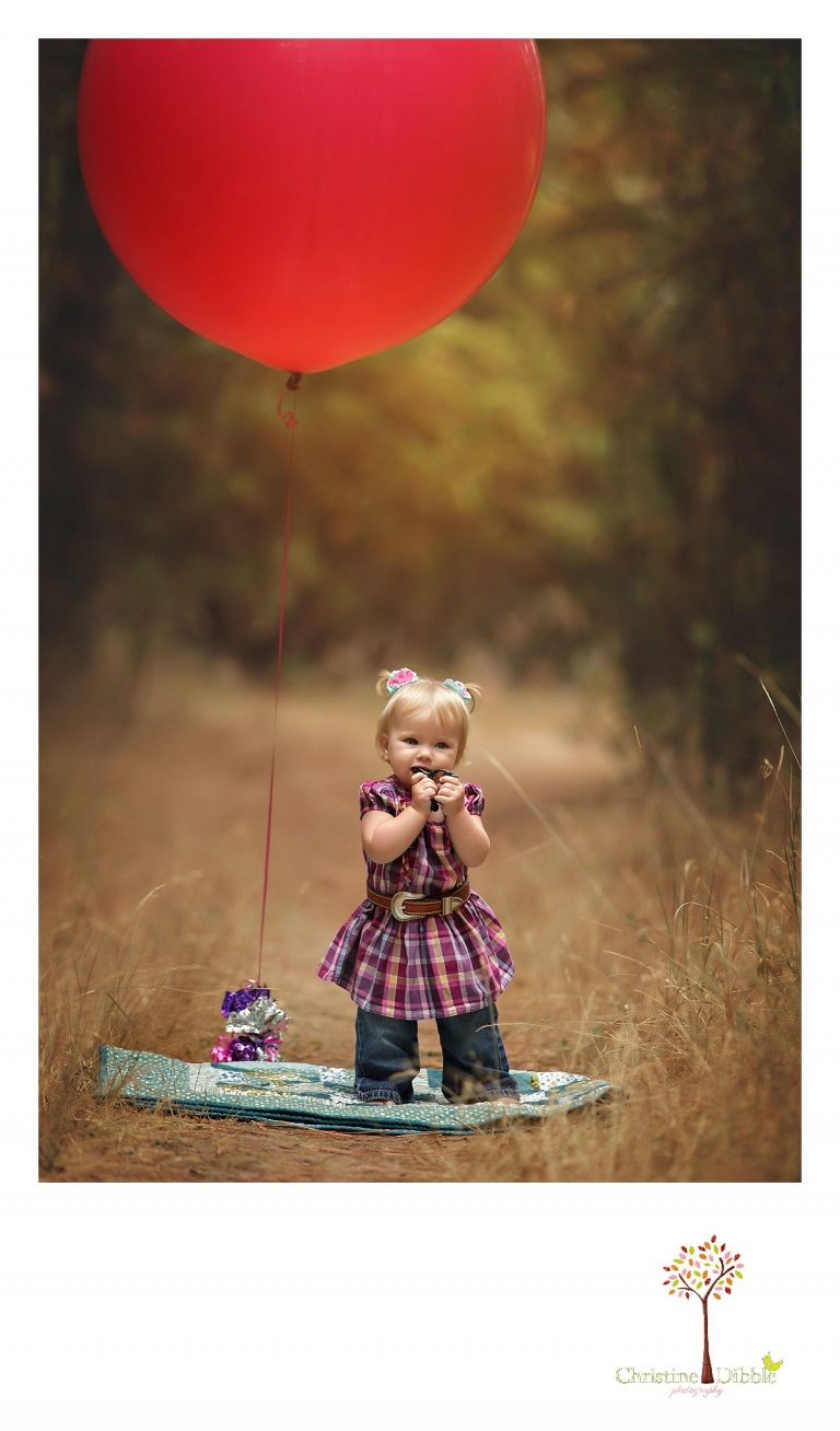 A little girl has her first birthday session including giant balloons with Sonora baby and child portrait photographer Christine Dibble Photography near Twain Harte.