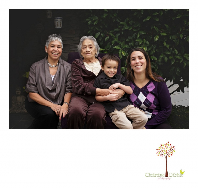 Sonora photographer Christine Dibble Photography takes four generation family portraits outside on a foggy morning in the clients' yard.
