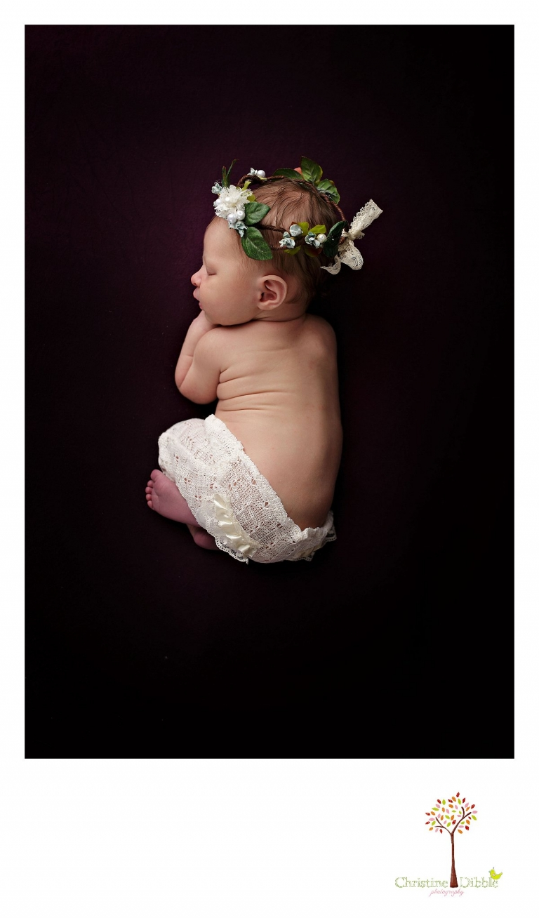 Best Sonora newborn photographer Christine Dibble Photography takes indoor studio photos of a newborn baby girl wearing a head wreath made by Hopefully Romantic.