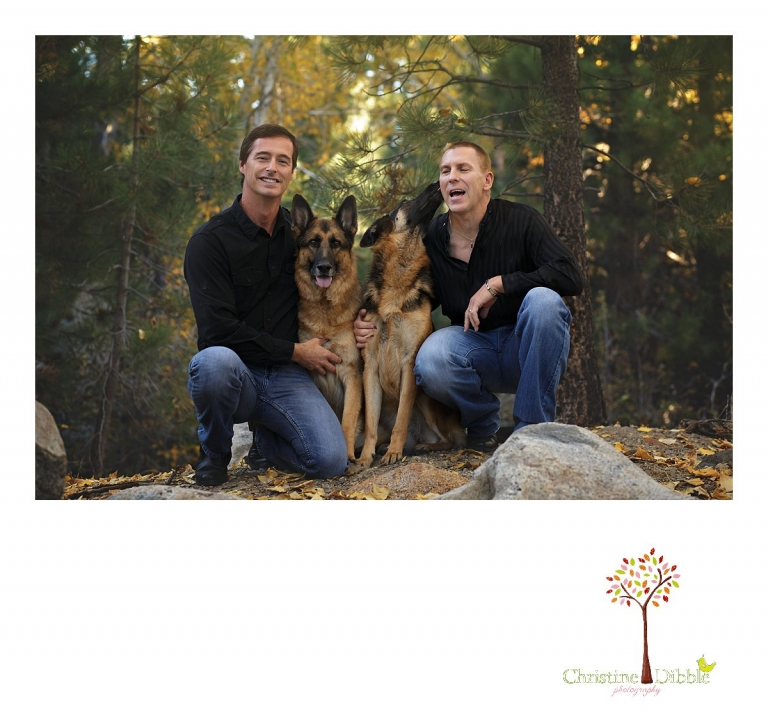 Sonora and Reno family and wedding photographer Christine Dibble Photography takes family photos of six people and three dogs at Galena Park.