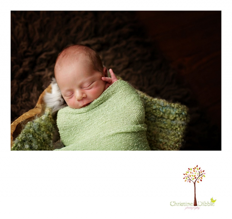 Best Sonora newborn photographer Christine Dibble Photography takes photos of a nine day old baby boy as he sleeps in a wooden bowl on a chocolate brown flokati rug.