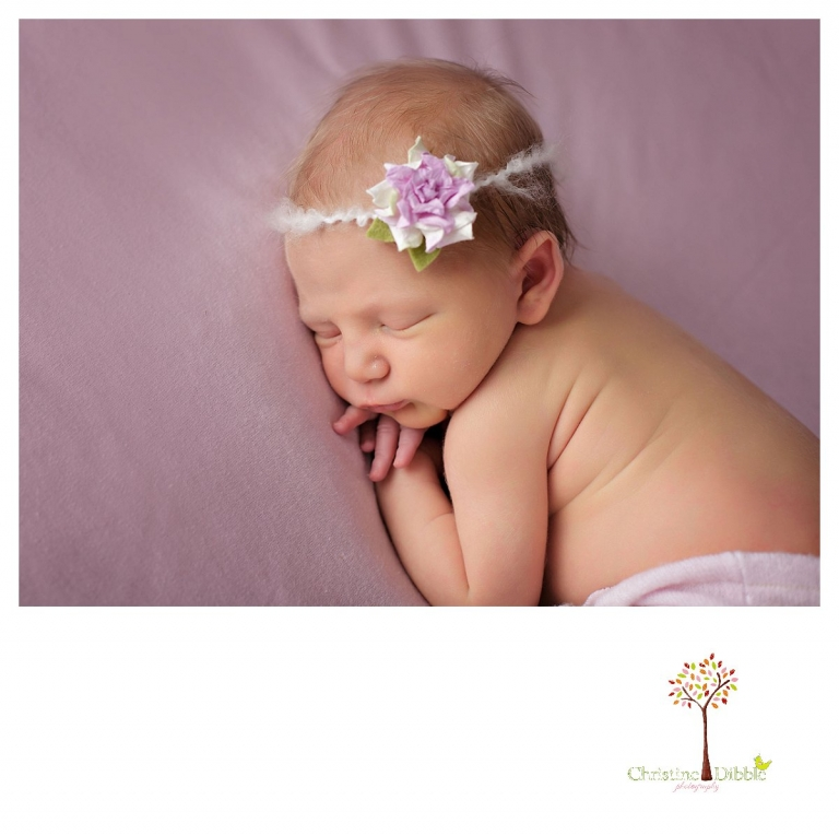 Sonora newborn photographer Christine Dibble Photography takes photos of a baby girl as she sleeps on a pink blanket.