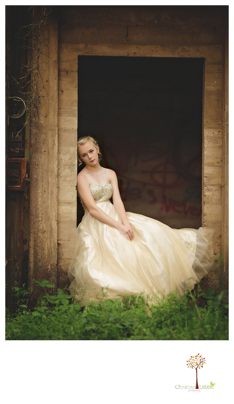 Sonora senior portrait photographer Christine Dibble Photography takes portraits of an eighth grade graduate in a formal gown at an abandoned house.