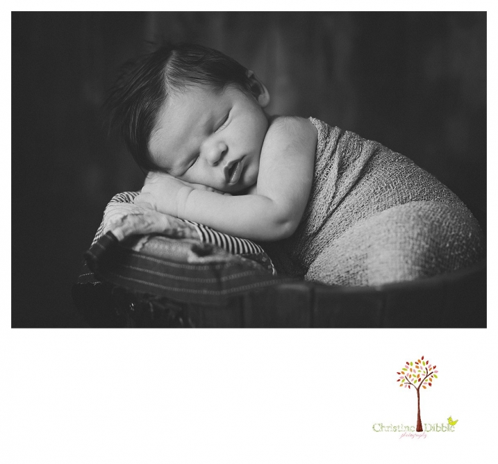 Newborn photography by best Sonora newborn photographer Christine Dibble Photography takes studio portraits in color and black and white of newborn babies asleep and awake.