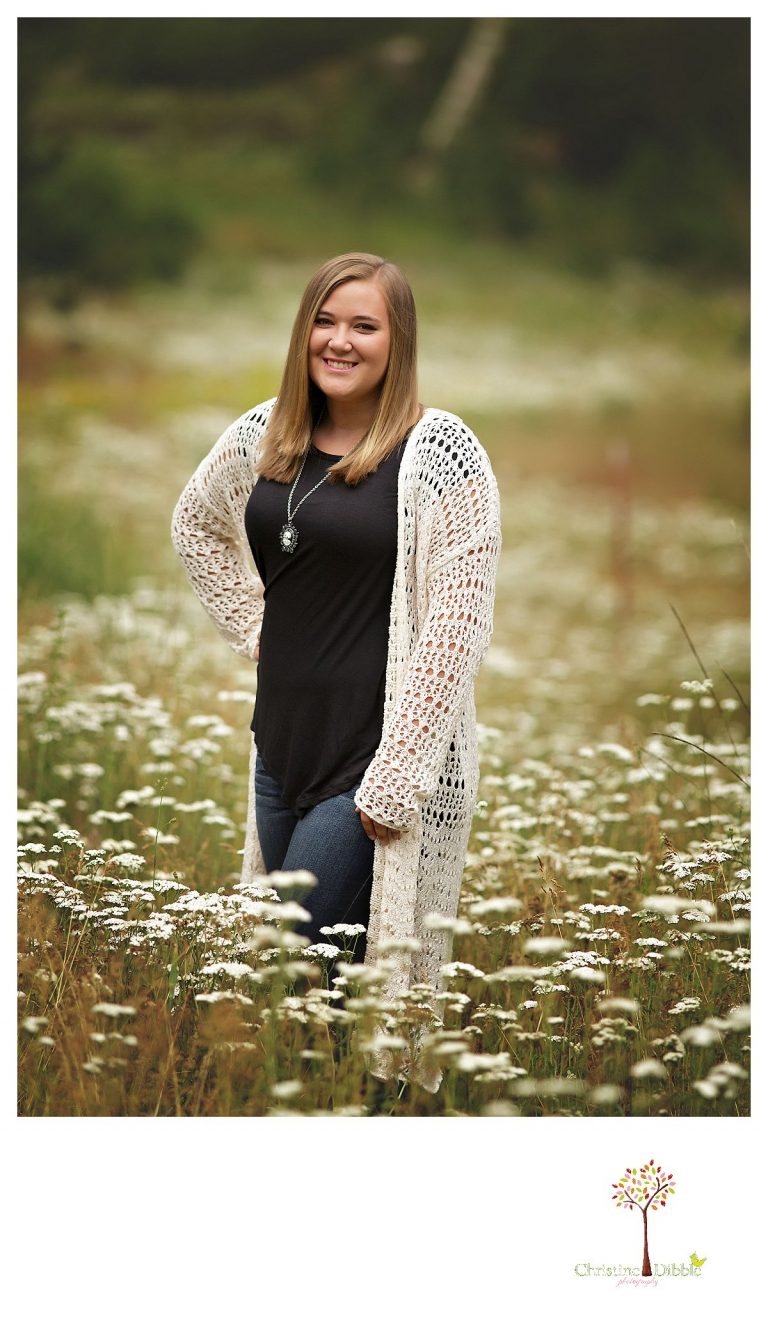 Sonora and Summerville senior portrait photographer Christine Dibble Photography takes outdoor senior portraits of a girl in a wildflower field.