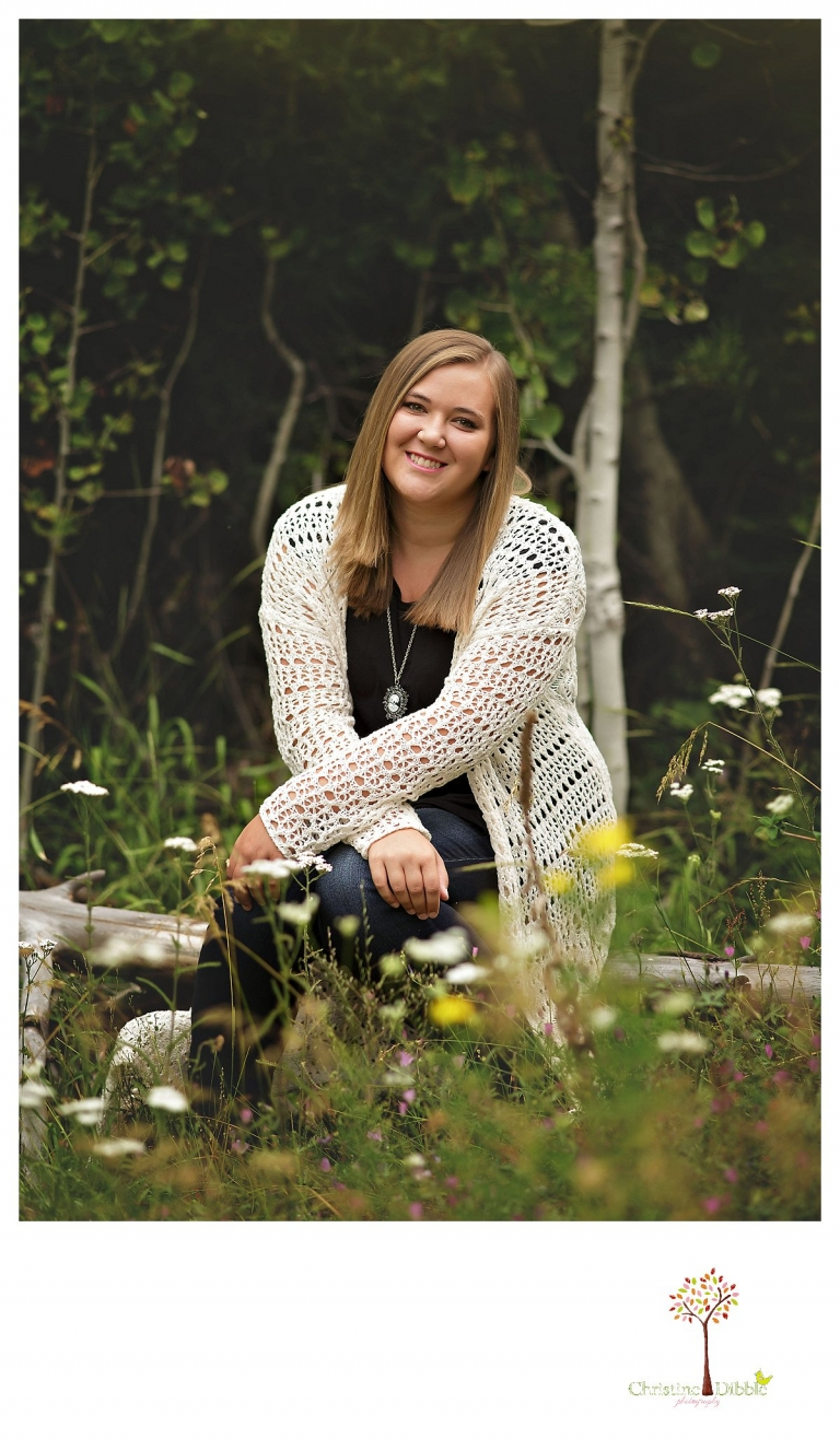 Sonora and Summerville senior portrait photographer Christine Dibble Photography takes outdoor senior portraits of a girl in a field of flowers.