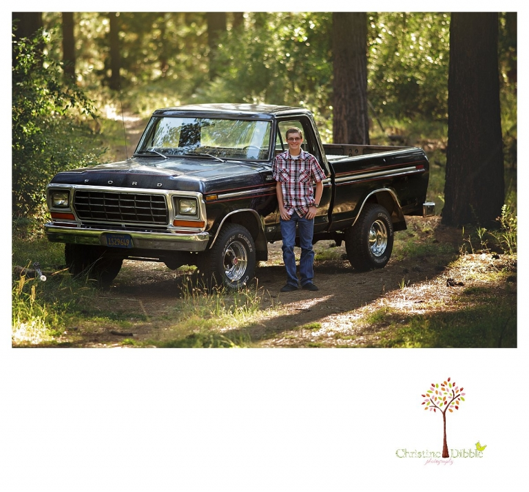 Summerville and Sonora senior portraits taken by Christine Dibble Photography include settings in the woods with black Chevy trucks.