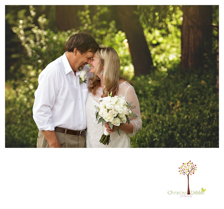 Wedding photography in Sonora by Christine Dibble Photography documents a bride and groom during a first look before their Twain Harte Tree Farm wedding.