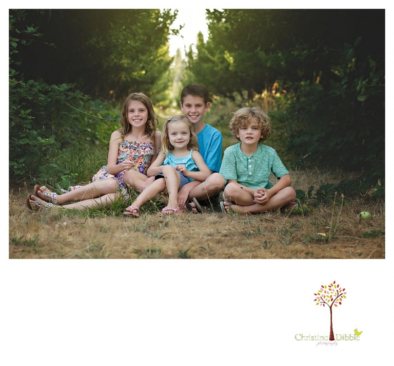 Sonora family photographer Christine Dibble Photography takes group portraits of four cousins sitting in the Indigeny Reserve apple orchard.