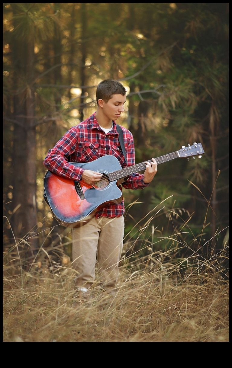 Summerville and Sonora senior portrait sessions with Christine Dibble include photos of seniors and their interests such as playing guitar.