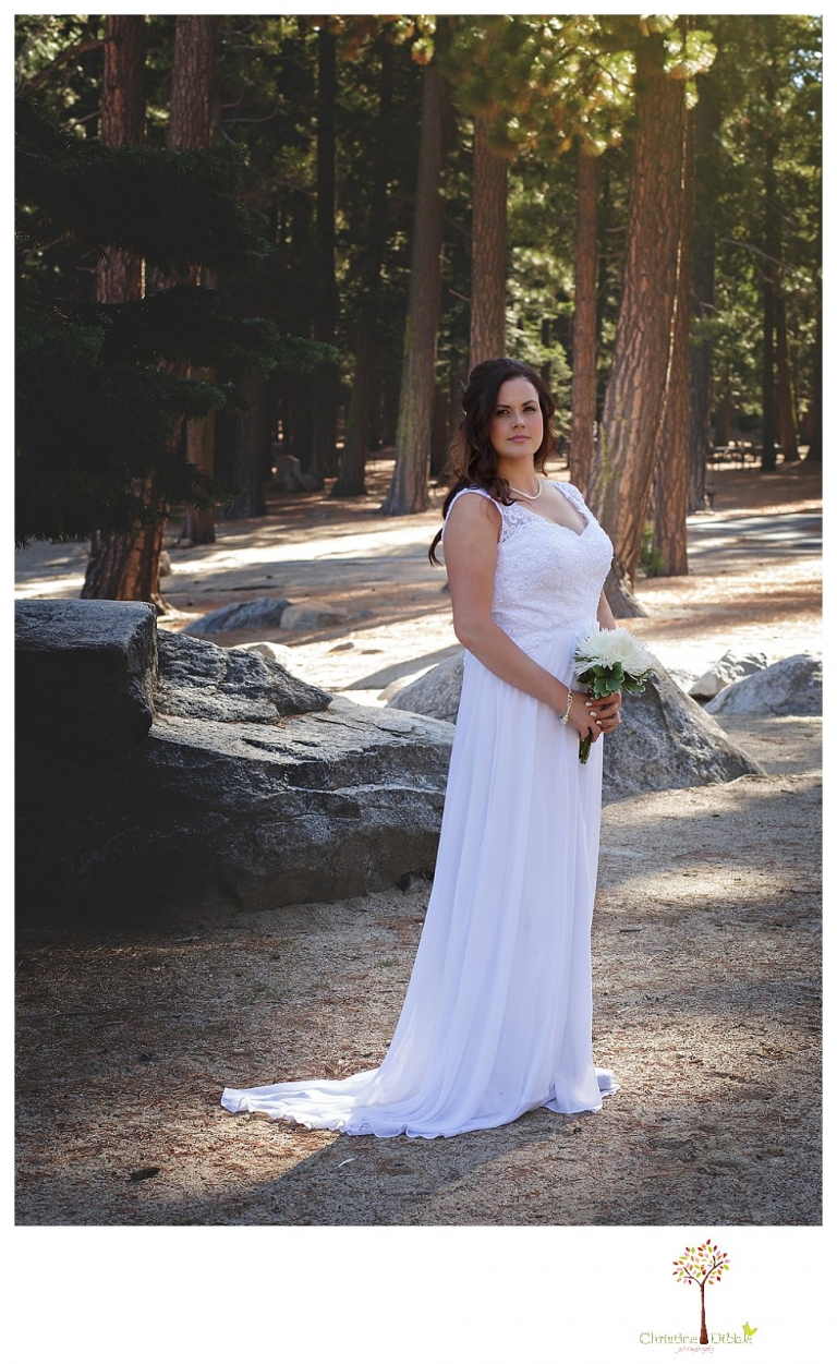 Sonora and Pinecrest wedding photographer Christine Dibble Photography takes wedding photos at a Pinecrest elopement including bridal portraits along the wooded beach.