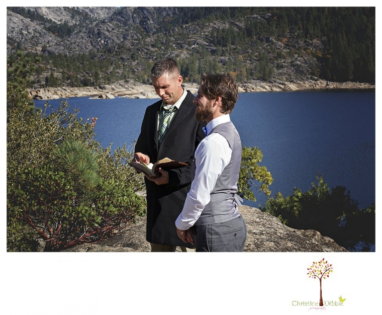 Sonora and Pinecrest wedding photographer Christine Dibble Photography takes wedding photos at a Pinecrest elopement including the groom and officiant waiting on a cliff overlooking the lake.