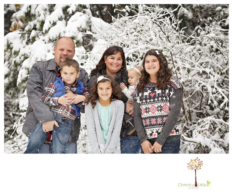 Sonora Family Photographer Christine Dibble Photography takes family portraits in the snow out of Long Barn during a big snowstorm.