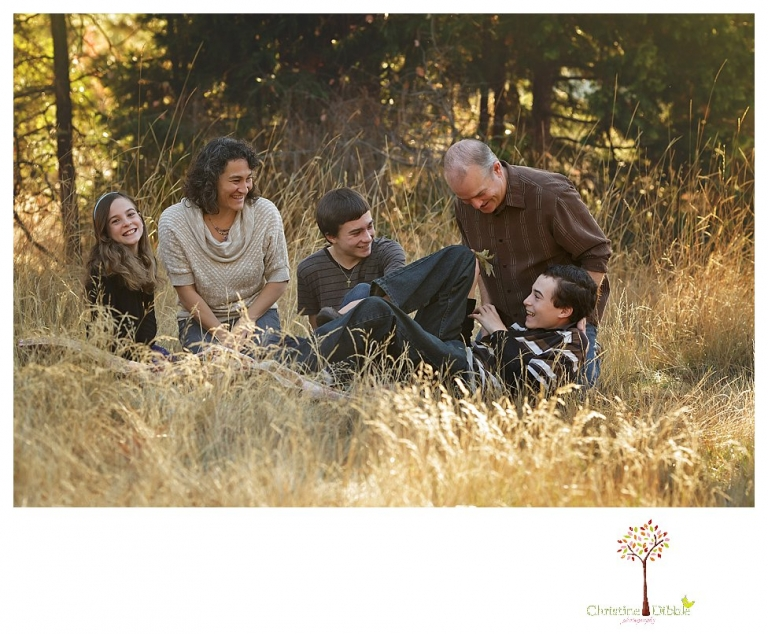 Sonora Family Photographer Christine Dibble Photography takes family portraits in Twain Harte of a family with an autistic child as they pose and play.