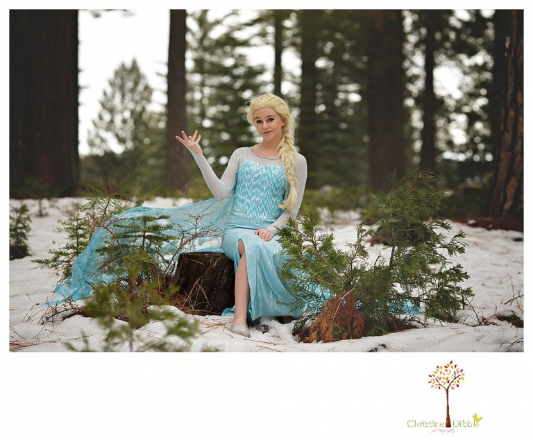 Sonora teen photographer Christine Dibble Photography takes snowy Elsa winter portraits to advertise for Fairytales and Friends.