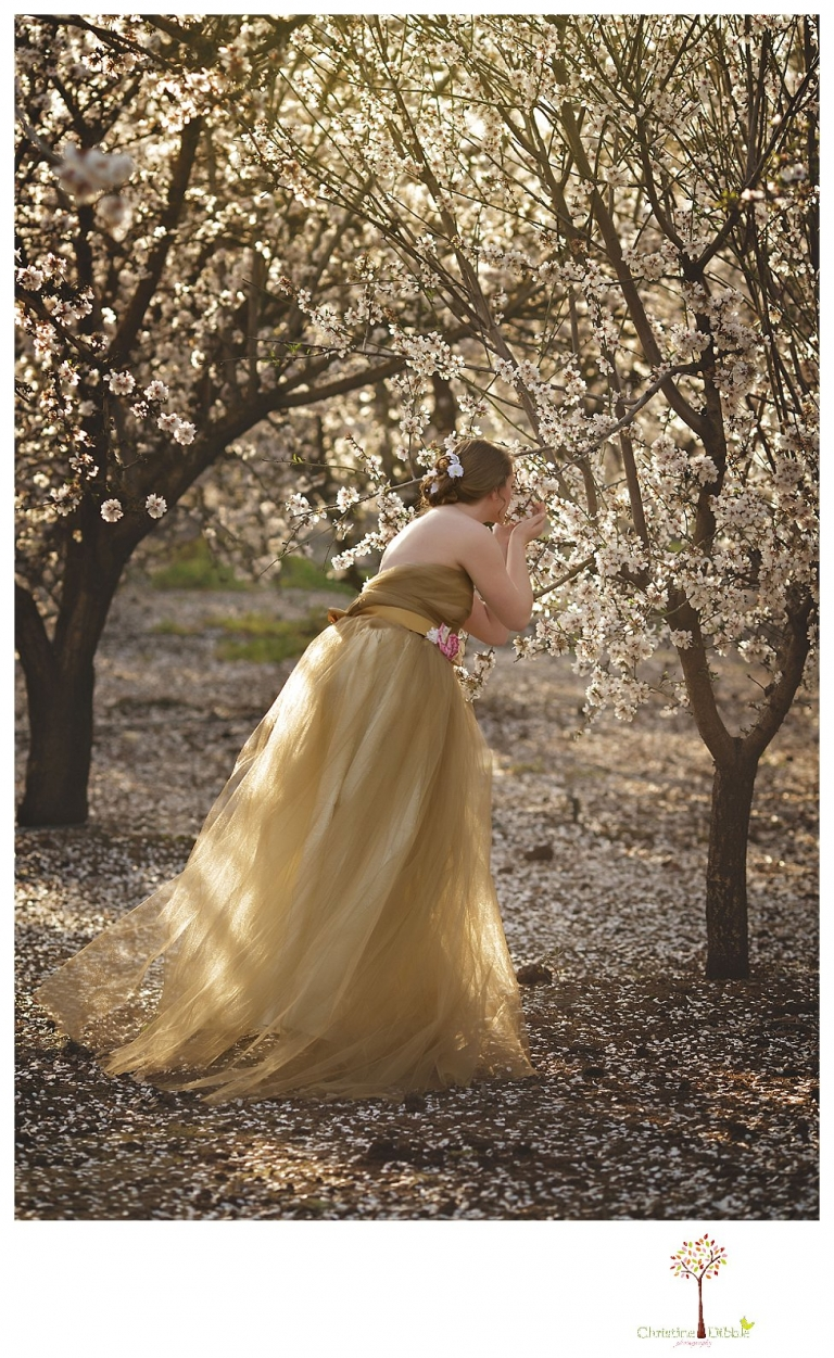 Sonora Summerville Senior Portrait photographer Christine Dibble Photography takes portraits of a senior girl in a full tulle dress among the blossoming trees at Bloomingcamp Ranch in Oakdale.