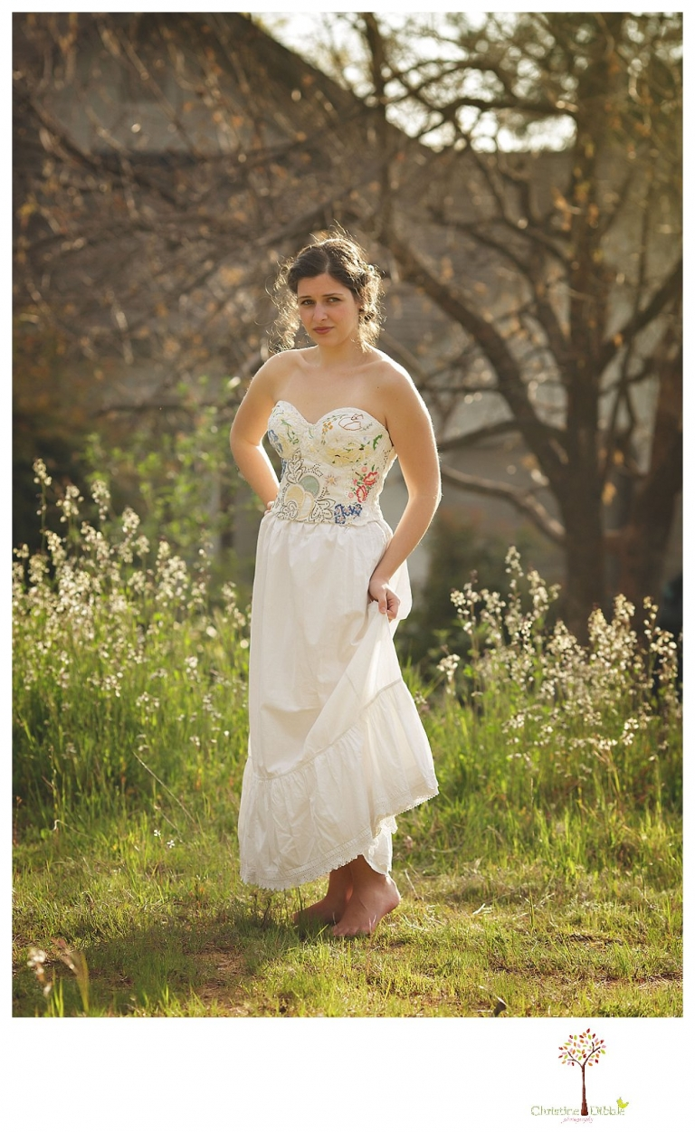 Sonora Wedding Photographer Christine Dibble Photography takes portraits of models posing as brides in wedding dresses made by Hopefully Romantic out of Twain Harte, CA.