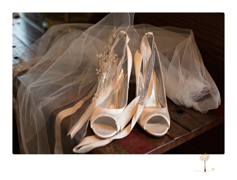Sonora Wedding Photographer Christine Dibble Photography takes wedding photos at a Black Oak Casino Resort wedding including the shoes, jewelry and veil.