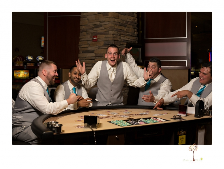 Sonora Wedding Photographer Christine Dibble Photography takes photos of the bridal party in the Black Oak Casino Players Club area.