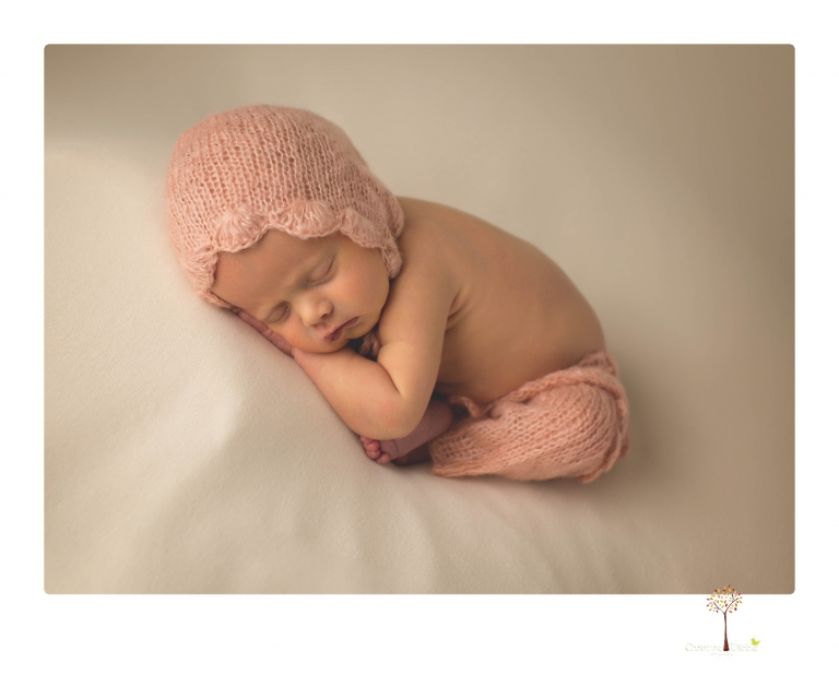Best Sonora newborn photographer Christine Dibble Photography takes studio portraits of an early baby girl in pinks and creams.