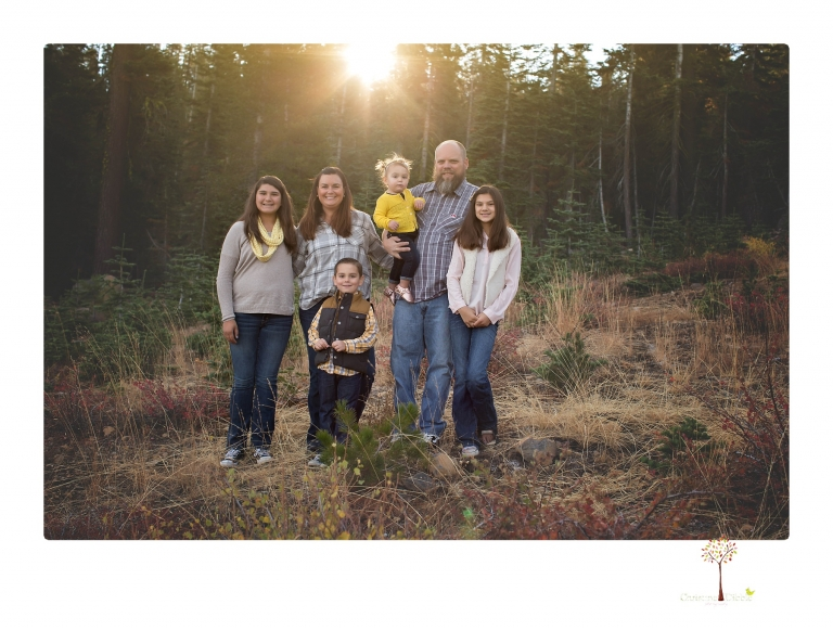 Sonora family photographer Christine Dibble Photography takes family portraits under Chair 10 at Dodge Ridge ski area.