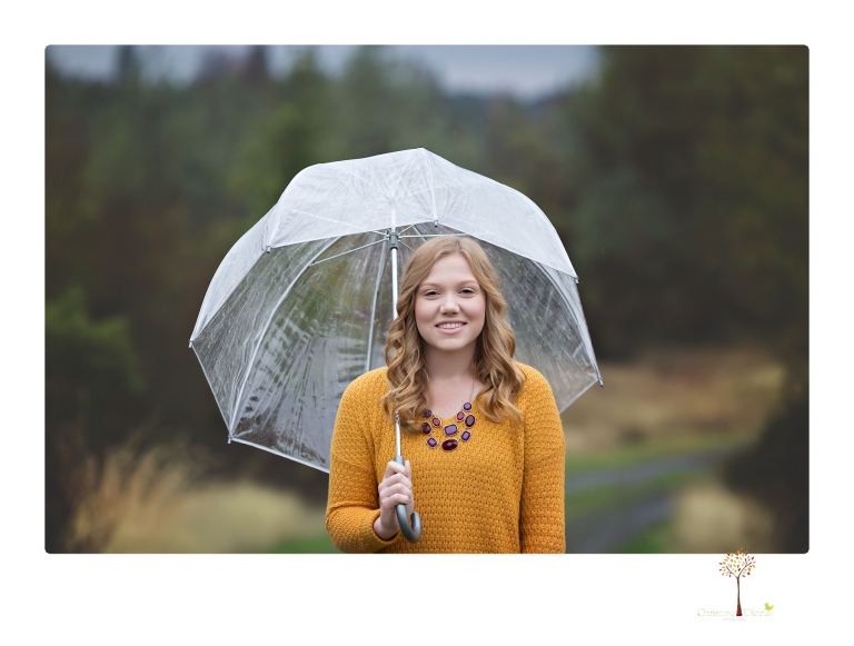 Sonora senior portrait photographer Christine Dibble Photography takes portraits of a Ripon High School senior in Columbia and downtown Sonora in the rain.