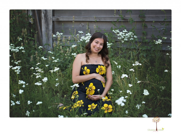 Sonora Maternity Photographer Christine Dibble Photography photographs a maternity session in a flower field.